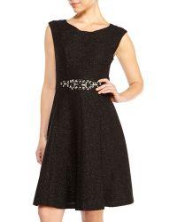Eliza J Textured Glitter Fit & Flare Dress - Lyst
