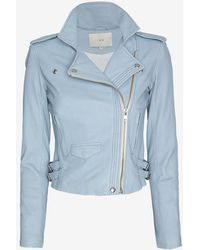 IRO Exclusive Hana Leather Jacket: Sky Blue - Lyst