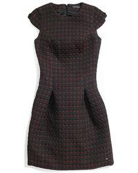 Tommy Hilfiger Houndstooth Brocade Dress - Lyst