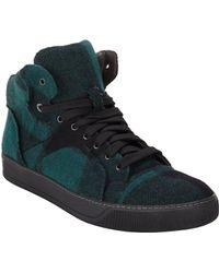 Lanvin Cap-Toe Tartan Flannel Sneakers - Lyst
