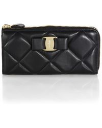Ferragamo Miss Vara Bow Quilted Leather Ziparound Wallet - Lyst