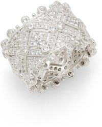 Judith Ripka White Sapphire Sterling Silver Deco Ring - Lyst