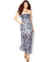 Guess Strapless Floralprint Maxi Dress - Lyst