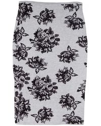 MSGM Grey Knit Pencil Skirt - Lyst