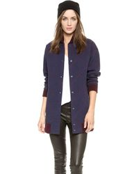 O'2nd - Star Quilting Varsity Coat - Navy - Lyst