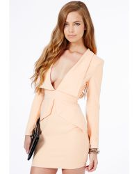 Missguided Norika Peplum Tailored Mini Dress in Nude - Lyst