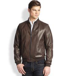 Ferragamo Reversible Leather Bomber Jacket - Lyst