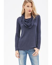 Love 21 Cowl Neck Tunic Sweater - Lyst