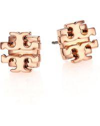 Tory Burch T Logo Small Stud Earrings/Rose Goldtone gold - Lyst