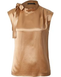 Alberta Ferretti Sleeveless Silk Top - Lyst