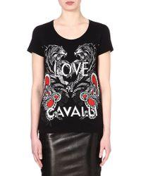 Roberto Cavalli Tigerprint Cotton Tshirt Black - Lyst