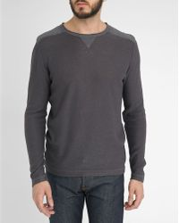 Harris Wilson Slate-Grey Sweater With Shoulder Inserts And Rolled Neck Hem gray - Lyst