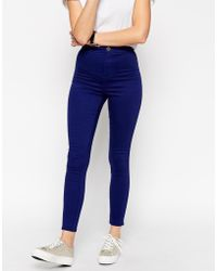 Asos Rivington High Waist Denim Ankle Grazer Jeggings In Ultra Violet Blue - Lyst