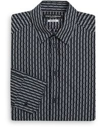 Dolce & Gabbana Regular Fit Gold Striped Half Dot Print Dress Shirt - Lyst