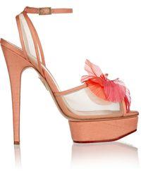 Charlotte Olympia Leila Poplin And Mesh Sandals - Lyst