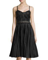 Philosophy di Alberta Ferretti Pleated Tech-Fabric Dress W/ Mesh Detail - Lyst
