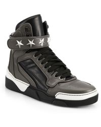 Givenchy Tyson Leather High-Top Sneakers - Lyst