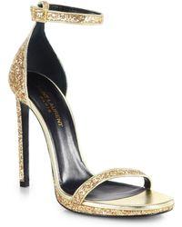 Saint Laurent Jane Glitter Leather Sandals - Lyst