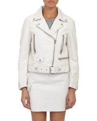 Acne Studios Scratch Leather Moto Jacket - Lyst