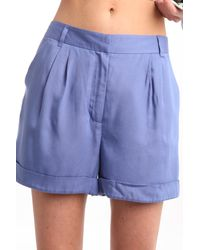Charlotte Ronson High Waisted Shorts In Cerulean blue - Lyst
