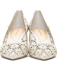 Nicholas Kirkwood White Lasercut Leather Pointed Heels - Lyst