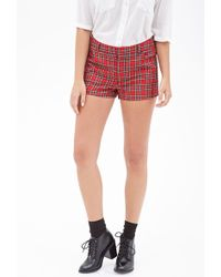 Forever 21 Woven Plaid Shorts - Lyst