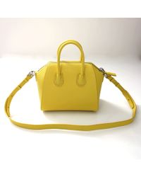 Givenchy Mini Antigona Bag In Bright-Yellow Textured-Leather - Lyst