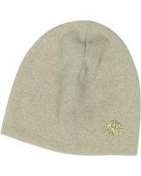 Roberto Cavalli - Golden Rc Logo Cashmere Women's Hat - Lyst