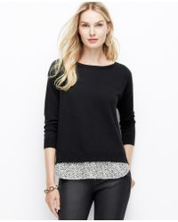 Ann Taylor Cheetah Print Layered Sweater - Lyst