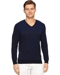Calvin Klein Textured Block Stripe Sweater blue - Lyst
