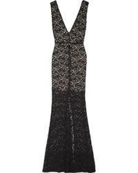 Alice + Olivia Mia Stretch Cotton Blend Lace Maxi Dress - Lyst