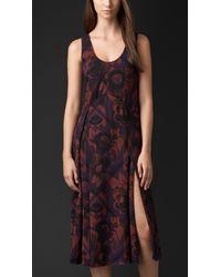 Burberry Geometric Floral Print Silk Dress - Lyst