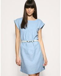 Gap - Rope Belted Chambray Linen Mix Dress - Lyst