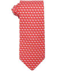 Ferragamo Red Car Print Silk Tie - Lyst
