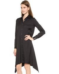 Tess Giberson Split Shirt Dress Black - Lyst
