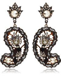 Lanvin - Brown Paisley Glass Clipon Earrings - Lyst