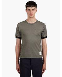 Thom Browne Mens Greynavy Oxford Pique Tshirt - Lyst