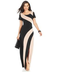 Eci Short-Sleeve Colorblocked Maxi Dress - Lyst