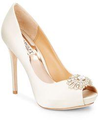 Badgley Mischka Finn Jewel-Embellished Satin Peep Toe Pumps white - Lyst