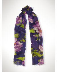 Ralph Lauren Floral Scarf purple - Lyst