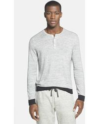 Vince Long Sleeve Henley Sweater - Lyst