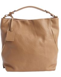 Armani Caramel Leather Zip Detail Logo Stamp Tote - Lyst