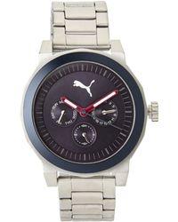 PUMA - Pu103552001 Silver-Tone & Navy Watch - Lyst