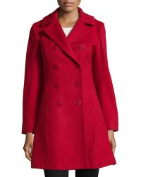 Sofia Cashmere Double-Breasted Princess Coat red - Lyst