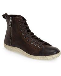 John Varvatos Hattan Zip Leather Sneakers brown - Lyst