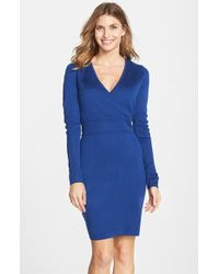 Marc New York By Andrew Marc Long Sleeve Faux Wrap Sweater Dress - Lyst