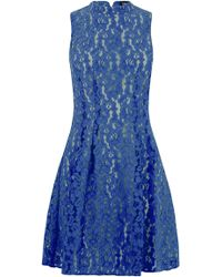 Oasis High Neck Lace Dress blue - Lyst