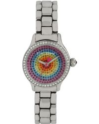 Betsey Johnson Ladies Crystallized Silvertone Mini Bracelet Watch with Multicolor Crystal Dial - Lyst