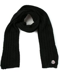 Moncler Black Knit Scarf - Lyst