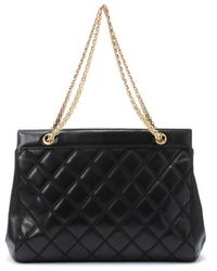 Chanel Preowned Black Quilted Leather Chain Shoulder Bag - Lyst